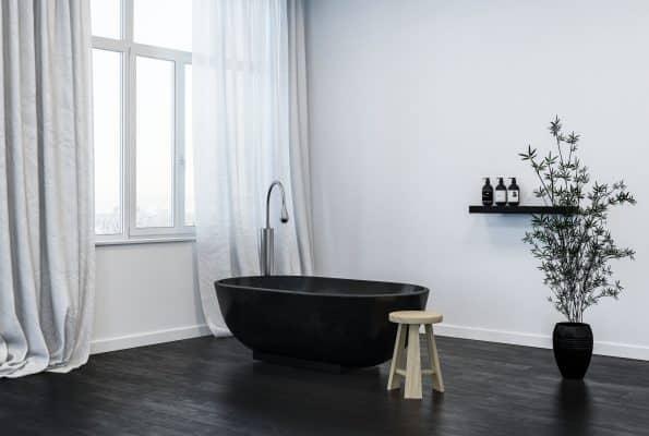 baignoire moderne robinet inox salle de bain